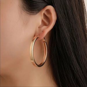 New Hoop Earrings 18k Gold Plated Smooth for Women
